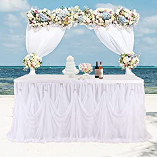 Leegleri White Tulle Tutu Wedding Table Skirt for Rectangle or Round Table Ruffle Tablecloths for Baby Shower,Bridal Shower, Birthday,Elegant Party Event(9 ft Table Skirt)