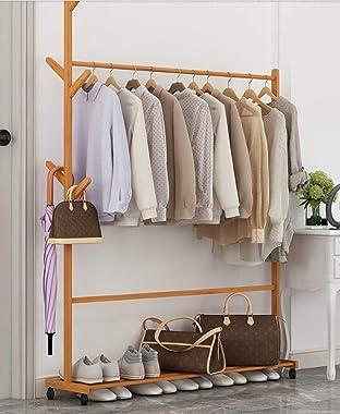Premium Bamboo 2-in-1 Clothes Coat Racks Shoe Rack Organizer Combo Free Standing Wood Farmhouse Heavy Duty Clothing Garment R