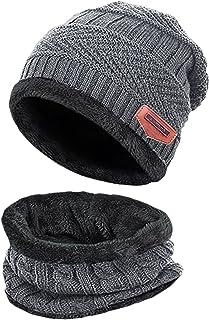 طقم من قطعتين من قبعات T WILKER للشتاء محيكة + وشاح من الصوف الدافئ بطانة كاب للأطفال من عمر 5-14 سنة للأولاد والبنات