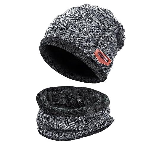 42ce2c002eb40 T WILKER 2Pcs Kids Winter Knitted Hats+Scarf Set Warm Fleece Lining Cap for  5