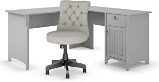 Bush Furniture Salinas 60W L Shaped Desk with Mid Back Tufted Office Chair in Cape Cod Gray