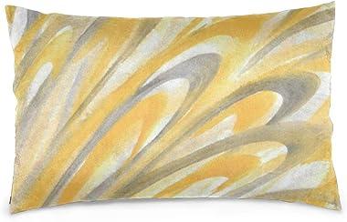 Lesif Housses de coussin rectangulaires en velours doux pour canapé, chambre à coucher, voiture, 40,6 x 61 cm (pétales jaunes