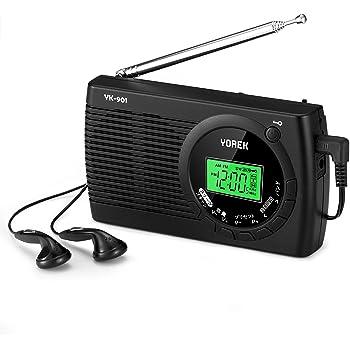 YOREK AM/FM/SW ワイドFM対応ポータブルラジオ 高感度受信クロックラジオ 電池式ラジオ スリープ機能付き ステレオイヤホン付属する(YK-901、 日本語取説付き,1年間保証付き)