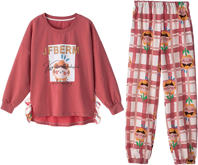 Home Wear,Women Fashion Print Sets Wear Lounge Wear Pocket Home Sleep Set Tops+Pants 2021 New