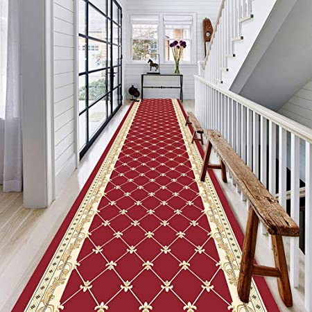tapis de passage long couloirs rouge classical carpet antiderapant melange pour couloir cuisine 8mm size 1x6m