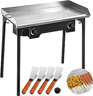 VEVOR Flat Top Griddle Grill & Propane Fueled 2 Adjustable Burners Stove 32