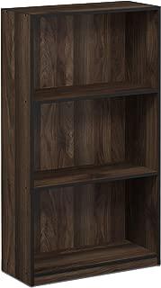 FURINNO Basic 3-Tier Bookcase Storage Shelves, Columbia Walnut