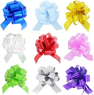 HONGJUYUAN  Wrapping Ribbon Pull Bows for  Wedding, Party, Birthday, Car, Holiday, Presents, Bags, Baskets, Bottles Decorations 9 Pieces in Different Color