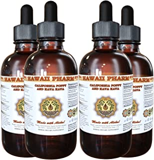 California Poppy and Kava Kava Liquid Extract, Organic California Poppy (Eschscholzia Californica) and Kava Kava (Piper Methysticum) Tincture 4x4 oz