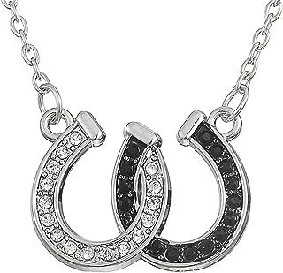 Lemegeton - Collana con ciondolo a forma di con doppio ferro di cavallo, gioiello, ottimo regalo per ragazze, colore: bian...