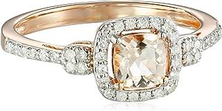 Natural Morganite & 1/5 ct Diamond Cushion Ring in 10K Rose Gold