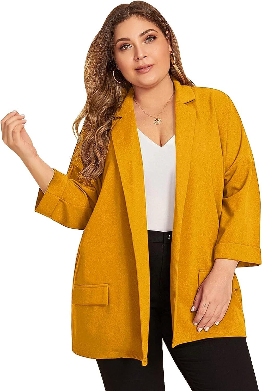 WDIRARA Women's Plus Size Long Sleeve Blazer Casual Open Front Cardigan Jacket