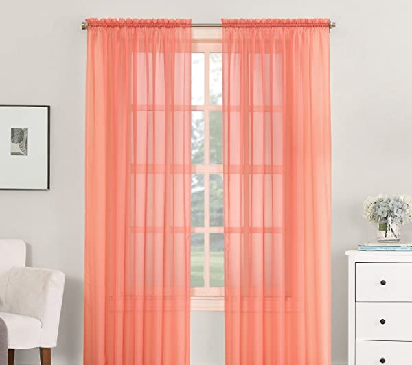 Luxury Discounts 2 Piece Solid Elegant Sheer Curtains Fully Stitched Panels Window Treatment Drape 54 X 84 Salmon