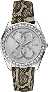 GUESS Women's Python-Print and Silver-Tone Dazzling Iconic Sport Watch