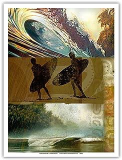 Pacifica Island Art - Surfers Journal Entry 14 - Breaking Waves - Original Collage Art by Wade Koniakowsky - Master Art Pr...
