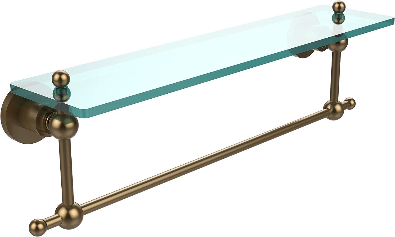 Allied Brass AP-1TB 22-BBR Glass Shelf with Towel Bar, 22-Inch x 5-Inch