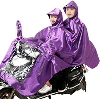 HYBAUDP Raincoat Poncho Set Raincoat Electric Motorcycle Raincoat Adult Increase Thickening Male/Female Oxford Fabric Double Poncho (Color : Purple)