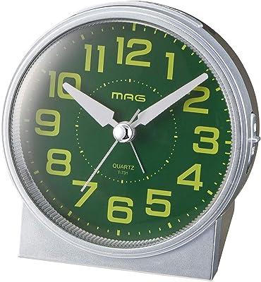 MAG(マグ) 目覚まし時計 非電波 アナログ 光助 連続秒針 集光文字盤 常時点灯ライト シルバー T-731SM-Z
