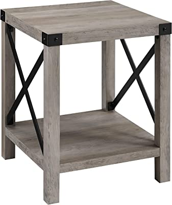 Walker Edison Furniture Company Rustic Modern Farmhouse Metal and Wood Square Side Accent Living Room Small End Table, 18 Inch, Grey Wash