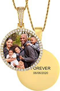 TUHE 18K Gold or Platinum Plated Custom Picture & Text Necklace Personalized Hip Hop AAA CZ Iced Out Heart Angle Wings Pendant Photo Necklace for Men Women Memory Chain Necklace Customized Rope/Tennis