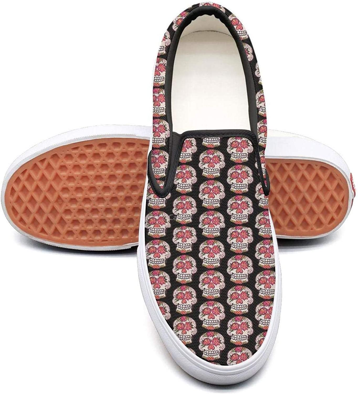 pink Red Skull 2018 Slip On Rubber Sole Loafers Canvas shoes for Women Casual