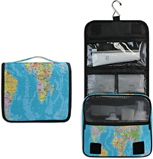 Hanging Toiletry Bag Blue World Map Large Capacity Travel Bag for Women and Men - Toiletry Kit, Cosmetic Bag, Makeup Bag - Travel Accessories