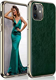 LOHASIC for iPhone 11 Case 6.1 inch, Ultra Slim Luxury Business PU Leather Cover Soft Non-Slip Grip Shockproof Bumper Full Body Protective Phone Cases Compatible with Apple iPhone 11 (2019) - Green