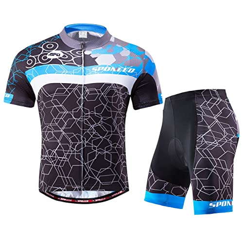 76825ca7a sponeed Men Cycling Outfit Set MTB Bicycle Jersey Road Biker Shorts  Trianthlon Cyclwear Shirts