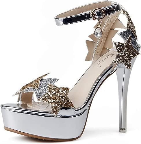 YAN damen es High Heel Sandals New Summer Peep Toe Stiletto Schuhe, Buckle Slingback Pentagram Super High Heels Dress schuhe,Silber,37