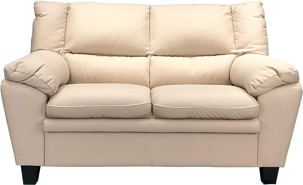 Totò piccinni, divano due posti, in similpelle effetto nabuk, imbottito con braccioli, beige