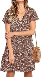 FSSE Women's Summer Short Sleeve V Neck Print Button Down A-Line Mini Dress