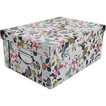 Guozi - Caja decorativa de cartón con tapa y esquinas reforzadas de metal, plegable y apilable, caja de almacenamiento de archivos de oficina: Amazon.es: Bricolaje y herramientas