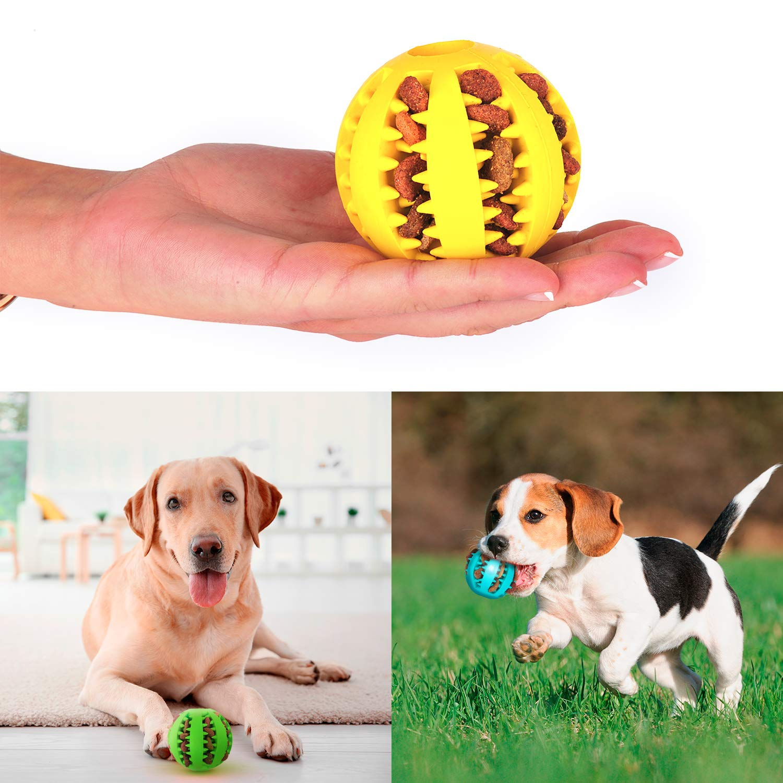 Pelota dental para perros y gatos 3 Uds, resistente, no tóxica. Juego de bolas interactivas dispensadoras de comida. Juguete de goma dura para masticar, limpiar los dientes, jugar, entrenar, adiestrar: Amazon.es: Productos