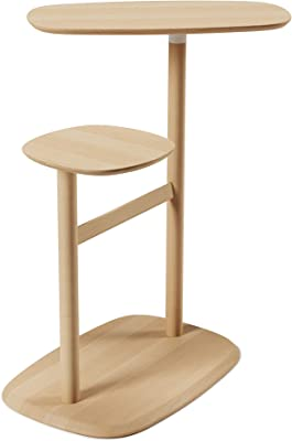 Umbra Swivo Side Bedside Two Swiveling Table Tops and Storage Rail for Magazines and Blankets, Natural