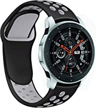 Galaxy Watch 46mm Bands, Gear S3 Bands, Auswaur 22mm Universal Soft Silicone Replacement Strap Band Compatible for Samsung Gear S3 Frontier/Classic Sports Smart Watch Fitness- Black/Gray-Large
