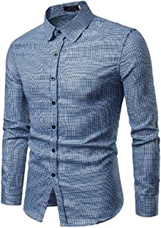 EnergyMen Small Plaid Britain Silm Fit Long-Sleeve Lapel Casual Shirts