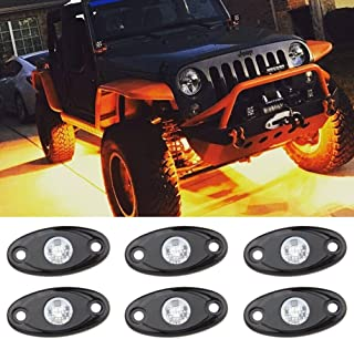 Amber LED Rock Light Kits with 6 pods Lights for Jeep Off Road Truck Car ATV SUV Yellow (Amber)