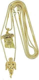 2 Piece Jesus Angel Micro Pendant Necklace Set with Box Chain Necklaces RC186