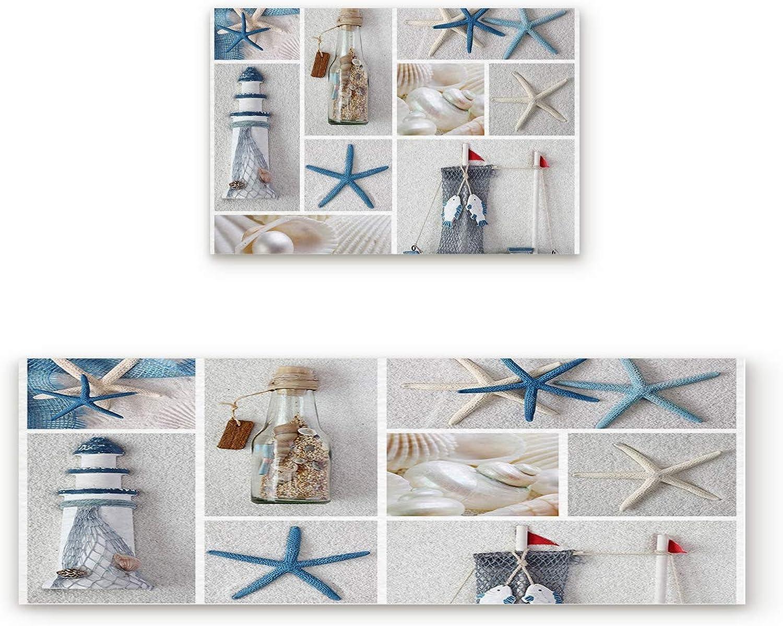 Aomike 2 Piece Non-Slip Kitchen Mat Rubber Backing Doormat Beach Decorative Elements Lighthouse Starfish Runner Rug Set, Hallway Living Room Balcony Bathroom Carpet Sets (19.7  x 31.5 +19.7  x 63 )