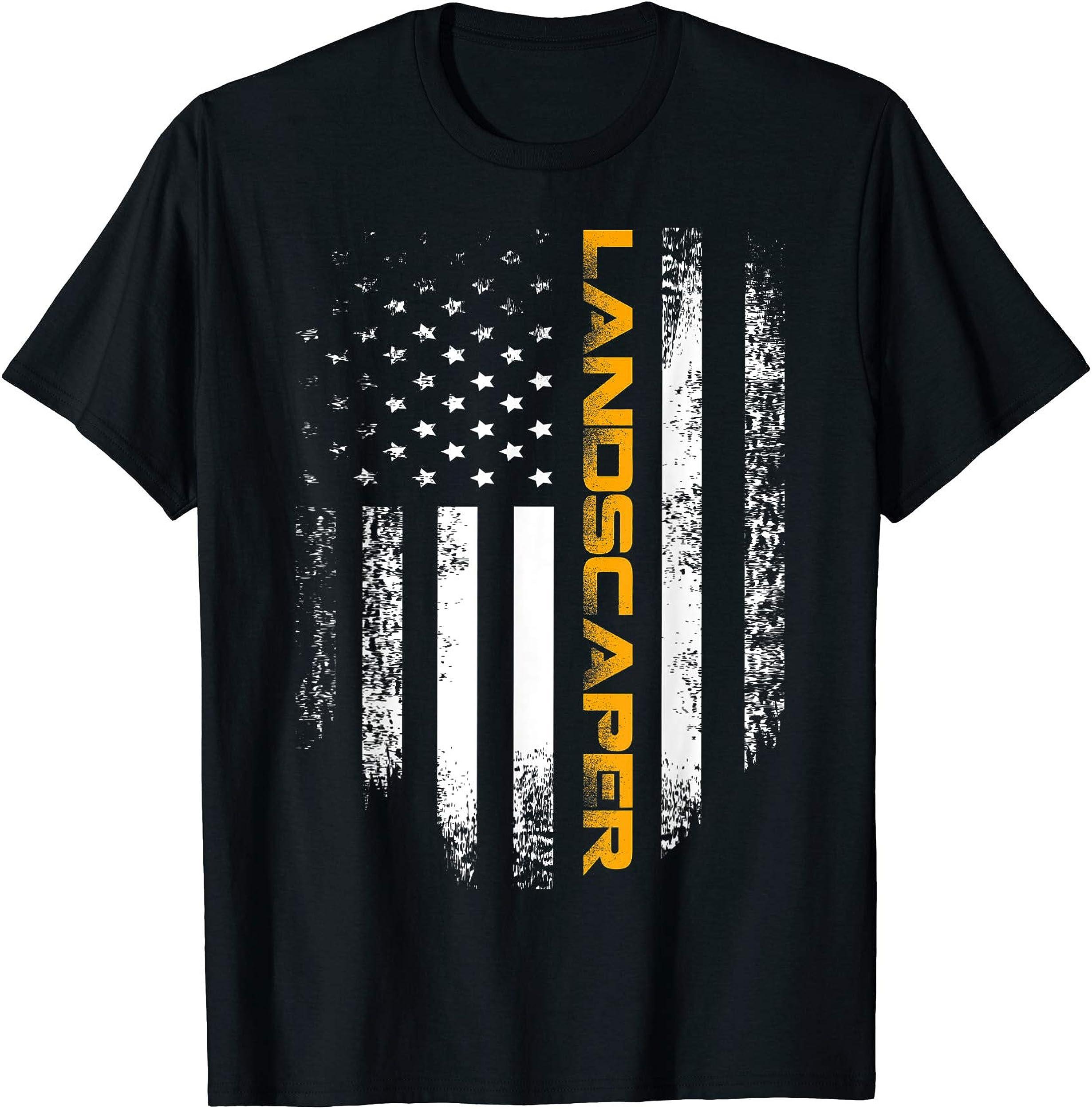 Vintage American USA Flag Landscaper T-Shirt Cool Gift