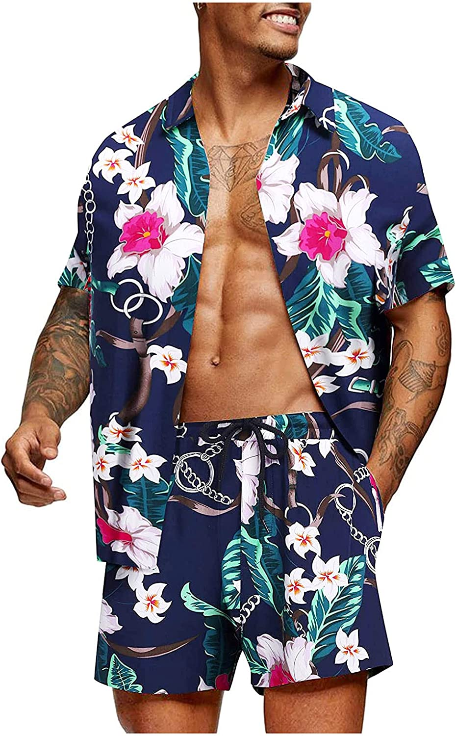 WOCACHI Hawaiian Men's Beach Outfit Sets, Summer Boho Printed Button-down Shirts and Shorts 2 Piece Set for Mens