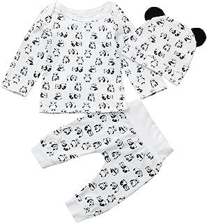 3Pcs Toddler Baby Neweborn Cartoon Panda Tops Pants Outfit Set Clothes for Boys Girl
