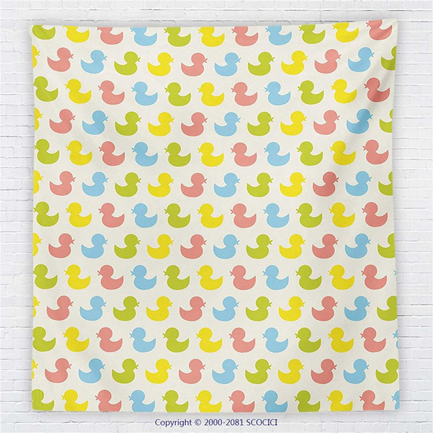 59 x 59 Inches Rubber Duck Fleece Throw Blanket colorful Ducklings Baby Animals Theme Pastel Girls Boys Newborn Pattern Blanket