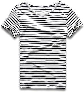 Zecmos Mens Stripes T-Shirts Casual Slim Fit Tshirts Striped Tees Top