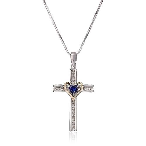 Sterling Silver Dark Sapphire and Diamond Cross Charm Pendant