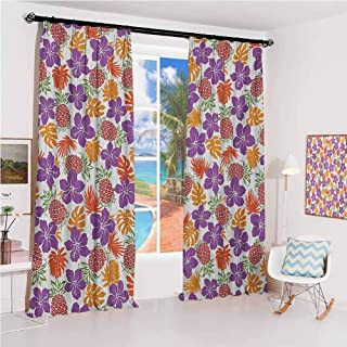 leinuoyi Pineapple Sunshade Sunscreen Curtain Lively Colored Print Natural Leaves Hibiscus Flowers Pineapples Tropic Hawai...