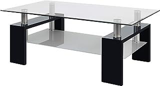 duehome Mesa Centro Moderna de Cristal Mesita Salon Color Negro Medidas: 110 cm (Largo) x 60 cm (Ancho) x 45 cm (Altura)