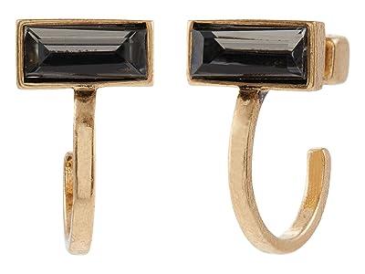 AllSaints Baguette Huggie Hoop Earrings (Black Diamond) Earring