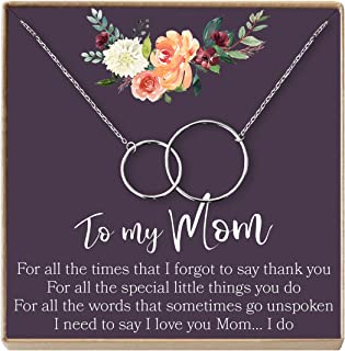 Mom Gift Necklace: Mother Necklace, Mother's Day Gift Necklace, Mother Daughter, 2 Interlocking Circles