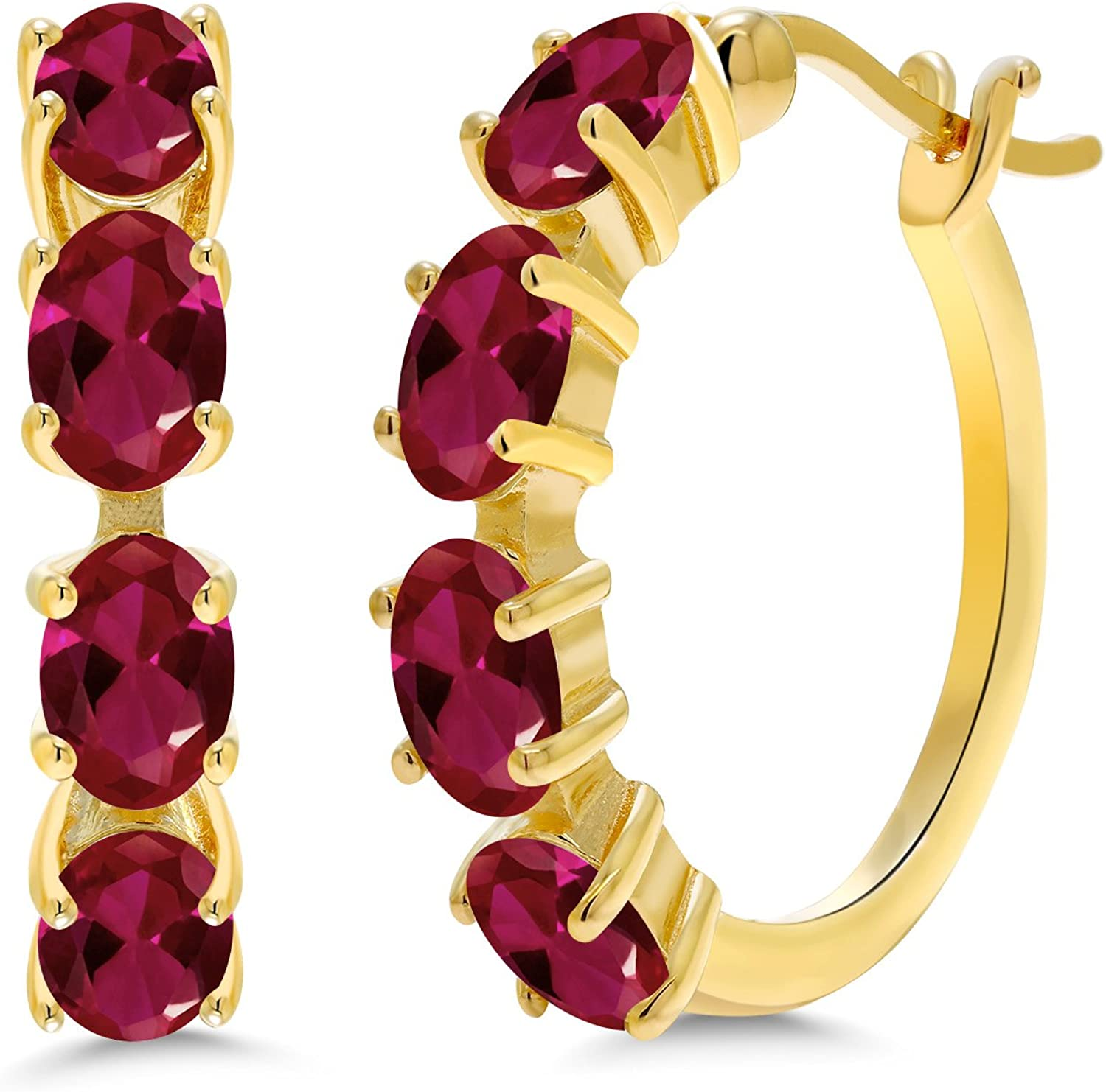Gem Time sale Stone King 4.00 Ct Oval Red 18K Yellow Pla Created Ruby Gold Japan Maker New